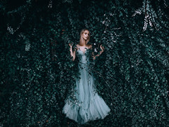 Entwined (Adam Bird Photography) Tags: adambirdphotography adambird entwined timwalker surreal ivy leaves roots flowers wall story narrative conceptual fineart fashion magical scene atmosphere fantasy dress model hm tulle green blue makeup behindthescenes dark fairy nature queen princess girl