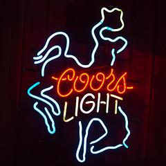 Ride 'em Cowboy (Thomas Hawk) Tags: america coors coorslight dallas texas usa unitedstates unitedstatesofamerica bar beer cowboy neon rodeo fav10