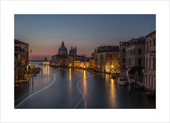 First traffic of the day (Explore 22/10/16 #41) (andyrousephotography) Tags: venice italy santamariadellasalute basilica church architecture grandcanal boats light trails accademia bridge photographers cameras tripods sunrise digital socialmedia facebook snapchat instagram flickr andyrouse canon eos 5d mkiii