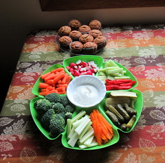 Veggie Tray and Banana-Pecan Muffins (genesee_metcalfs) Tags: food thanksgiving muffins vegetables appetizer carrot celery pickle cucumber broccoli peppers radish
