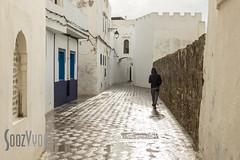 Respite between Downpours (Sue_Hutton) Tags: asilah maroc morocco november2016 autumn man northernmorocco walking wall