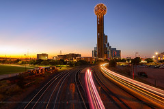 Reunion Tower, Dallas, Texas (wisanuboonrawd) Tags: dallas skyline city building train rail railway line trail light transportation sunset longexposure tower reunion sky clear link construction america blue business center public scene observation texas big beautiful sphere blobe circle long
