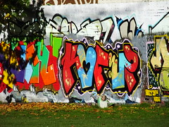 Street art and graffiti, Sevenoaks Park (DJLeekee) Tags: streetart graffiti sevenoaks park cardiff enta amok ewmj