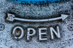 OPEN ( David Gunter) Tags: open sign cast iron fire hydrant water arrow blue