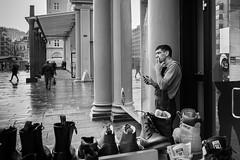 """Taking a break"" (Terje Helberg Photography) Tags: bw sentrum torgallmenningen blackandwhite bnw break candid citylife cityscape monochrome people salesman shoes smoke street streetphotography streetlife urban vendor hordaland bergen samsung nx30 nx"