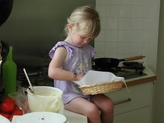 P1010001 (spelio) Tags: ella kitchen child cooking scones bench mixing bowl frypan pancake