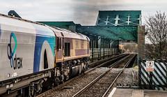 Powering Across the Trent (SydPix) Tags: 66165 class66 keadby bridge althorpe steel iron girders green biomass freight ews smoke exhaust fumes clag diesel locomotive railways trains sydyoung