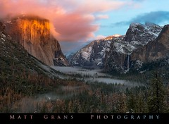 Last Light, Tunnel View (Matt Grans Photography) Tags: yosemite nationalpark alpenglow sunset fog mists valley snow california nature landscape