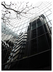 Lloyds of London (Dave Button) Tags: lloyds london architecture building tree reflection mono modern
