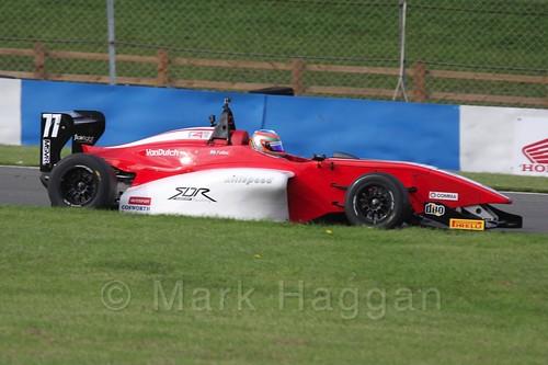 MGR Motorsport's Hernán Fallas in BRDC F4 Race 3 at Donington Park, September 2015