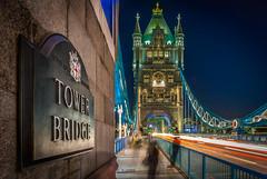 The name is on the wall (aurlien.leroch) Tags: uk longexposure england london night towerbridge nikon europe cityscape londres pont bluehour cityoflondon d3000