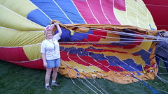 The ground crew helping get the balloon full