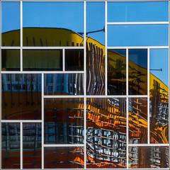 Vienna - Reflection (Hervé Marchand) Tags: vienna windows reflection building architecture square university colours details puzzle business mondrian reflets economics vienne fenetre urbain canoneos7d