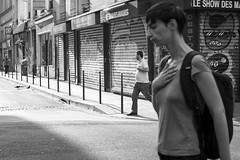 La main sur le coeur, Paris France (mafate69) Tags: street city portrait urban bw paris europe heart noiretblanc candid documentary eu coeur nb rue iledefrance ville idf ue reportage urbain streetshot documentaire photoreportage faubourgsaintdenis blackandwhyte mafate69