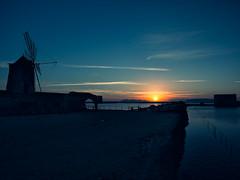 Saline di Trapani #01 (Samuele Silva) Tags: sunset sky windmill clouds tramonto tetto wind sale cielo sicily saline sicilia mulino vento trapani tegole