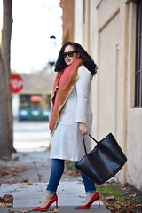 Blanket Scarf + Knit Jacket (GirlWithCurves) Tags: curlyhair redshoes totebag fallfashion redheels plussize knitjacket redpumps blanketscarf curvyblogger