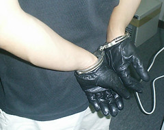 Gloved Cuffed (asiancuffs) Tags: gloves shackles handcuffs handcuffed