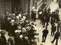 Emmeline Pankhurst and Emmeline Pethick Lawrence leaving court, c.1908-1912.