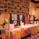 Quilts displayed that students created.