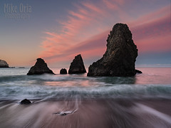 Rodeo Beach (mikeSF_) Tags: ocean sanfrancisco california county pink seascape beach wet water clouds sand 645 rocks pentax cloudy outdoor marin shore rodeo sausalito 25mm seastack rodeobeach 254 mikeoria dfa25 645z pentax645z wwwmikeoriacom