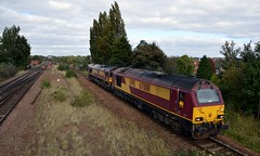 67008 & 66184 entering Swinton with a Belmont Down Yard to Toton loco move, 5th Oct 2016. (Dave Wragg) Tags: 67008 class67 skip 66184 class66 dbschenker ews swinton loco locomotive railway