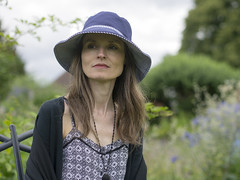 Marille, Hampshire 2016: Natural grace (mdiepraam) Tags: marielle hampshire 2016 mottisfont nationaltrust england britain portrait pretty gorgeous attractive mature fiftysomething brunette woman lady milf elegant classy hat necklace dress garden