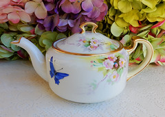 Nippon Porcelain Teapot ~ Hand Painted Butterflies Pink Flowers (Donna's Collectables) Tags: nippon porcelain teapot butterflies pink flowers thanksgiving christmas