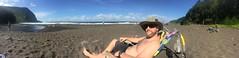 Waipio Valley black sand beach (pajarero) Tags: hawii waipio black sand panoramic emily mark honeymoon bigisland