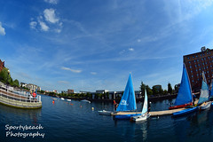 Sailing on Ontario Basin (jonnywalker) Tags: manchester salfordquays salford quays lowrymall fisheye ontariobasin steps bluesky hotel watersport sailing sail sailingboat