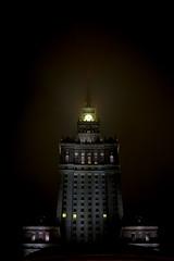 Warsaw (Dekka86) Tags: skyscraper city night dark fog warsaw poland polish modern old building tower clock