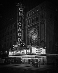 Chicago Theater (Mike Schaffner) Tags: bw billyprine blackwhite blackandwhite johnprine lights marquee monochrome movie night theater
