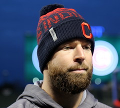 Indians pitcher Corey Kluber looks on during an interview at Wrigley Field. (apardavila) Tags: postseason wordseries baseball clevelandindians coreykluber majorleaguebaseball mlb sports worldseries wrigleyfield