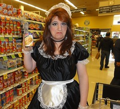 I wanted the kind with MEATBALLS. (rgaines) Tags: costume cosplay crossplay drag frenchmaid halloween shopping