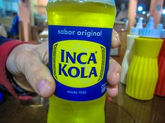 Inca Kola is a local favorite in these parts.  Amanda thinks it tastes similar to Mountain Dew.