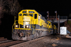 They Swarm by Night (sullivan1985) Tags: nysw nysw3808 nysw3804 nysw3806 nysw3014 su99 howells newyork ny cphowells westbound freight night signals signal cantilever erierailroad erielackawanna swarm yellowjacket emd sd60 sd40t2 southerntier portjervisline alienbees strobes railroad railway fall autumn november train