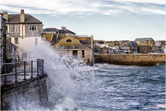 St Ives getting wet! (hisdream) Tags: stives cornwall waves splashing ocean town