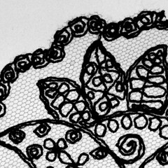 black lace (Marie Kappweiler) Tags: stitch nähen brodery broderie macro backlight backlit stoff tissue scharzweiss black white noir blanc pattern muster spitze lace
