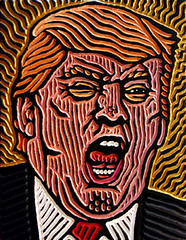 Trump as The THING (Lisa Brawn) Tags: art carving design folkart graphics illustration lisabrawn popart painting portrait reclaimed salvaged upcycled woodcut woodblock woodcarving woodcuts wood celebrity government hollywood horror movie monster portraitpainting politics americana president usa united states thething johncarpenter dystopia dystopian donaldtrump presidenttrump officialportrait nightmare apocalypse lowbrow johncarpentersthething 1982 sciencefictionhorror parasiticextraterrestriallifeform apocalypsetrilogy