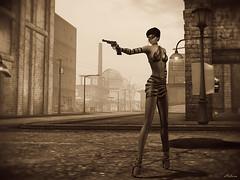 (Bleem Belargio) Tags: woman city urban sepia monochrome 44magnum gun revolver road buildings sl secondlife