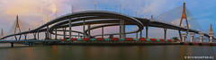 Bhumibol bridge (M. Ali Changezi) Tags: bhumibolbridge thailand prapadaeng samutprakan suspensionbridge moon supermoon colorful sky blue golden