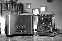 Toasters In Time! (Good Morning Everyone :)) Tags: odc juxtaposition toasters new old stainlesssteel breville t12generalelectrictoaster vintage chrome 1920 hotpoint