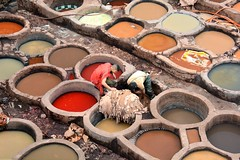 The chouwara leather tanneries of Fez - Les tanneries du quartier Chouara de Fs, Morocco - Maroc. (Olivier Simard Photographie) Tags: africa colors leather animals clothing workers skin couleurs indigo mint morocco fez cedar maroc atlas maghreb medina urine lime henna animaux artisans tanning safran hommes peau saffron rif afrique tannery menthe tanners craftsmen cuir vtement fs mdina tanneries teintures craftspeople cdre henn poppyflower tinctures chaux tanneurs tannage fleurdepavot soukdestanneurs chouwaratannery soukofthetanners tanneriesdechouara