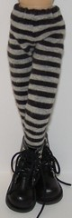 Thin Striped Black And Gray Tights For Blythe...