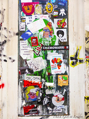 sticker combo on Brick Lane including BunnyBrigade, Mr Fahrenheit and 23rd Key (Dutch Girl in London) Tags: streetart london graffiti sticker stickerart shoreditch bricklane eastlondon bunnybrigade