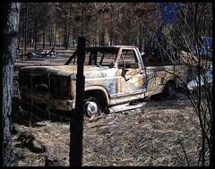 "Rock Creek -  ""Hot Ford"" (~ Blu ~) Tags: blu fire westbridge burn black sept2015 destroyed totaled loss fisforfire"