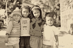 Children of Meghalaya (thetravelingblock) Tags: girls friends india smile kids naughty children togetherness asia child friendship young shy siblings innocence laughter northeast meghalaya mawlynnong cleanestvillage