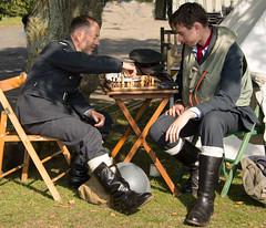 Chess while awaiting scramble (Beth Hartle Photographs2013) Tags: duxford reenactment raf scramble dispersal homeguard wraf middlewallop 609sqndispersal 1940battleofbritainairshow airtrafficcontrolcaravan wrafdriver 1937vauxhallcar