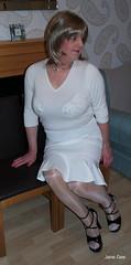 Door knockers (janegeetgirl2) Tags: white black stockings panties tv high glamour bra skirt lingerie crossdressing tgirl transvestite heels lipstick tight crossdresser ts nylon stilettos transsexual fully sheer fashioned seams
