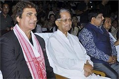 Assam Chief Minister Tarun Gogoi along with MP and Actor Raj Babar watch the closing ceremony of 6th Assam State Film Award Festival 2015 at ITA Machkhowa. (legend_news) Tags: with chief watch actor mp assam along babar raj minister tarun gogoi