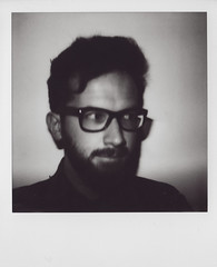 Polaroid, 18.10.15 (Gordon_Farquhar) Tags: portrait white black film face self mouth project hair beard nose glasses eyes moody no version filter analogue 20 quiff impossible selfie